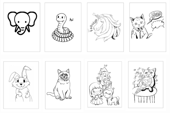 100 Coloring Animal Pages Bundle KDP Graphic Preview