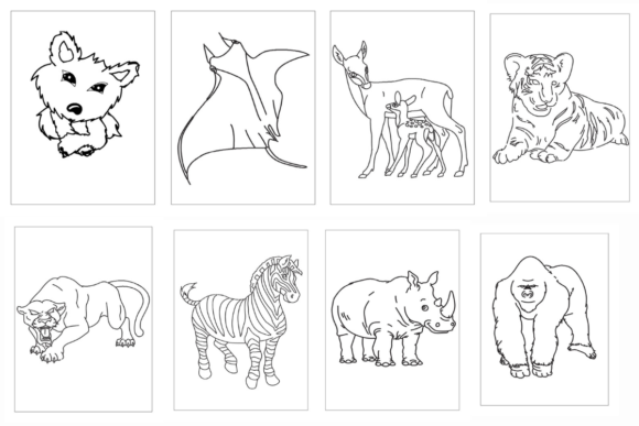 100 Coloring Animal Pages Bundle KDP Graphic Image