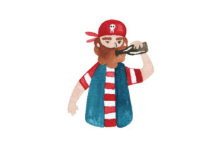Pirate Drinking Rum out of Bottle Pirates Craft Cut File By Creative Fabrica Crafts