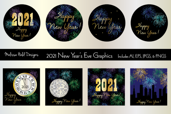 2021 New Year's Eve Graphics Graphic Illustrations By Melissa Held Designs