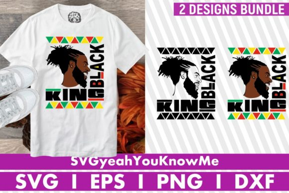 2x Black King Bundle, Afro American Man Grafik Plotterdateien von svgyeahyouknowme
