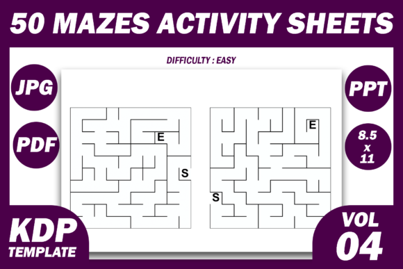 50 Easy Mazes for Kids | KDP Interior 4 Graphic