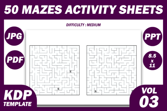 Print on Demand: 50 Maze  Puzzles | KDP Interior Volume 3 Graphic KDP Interiors By Fayne