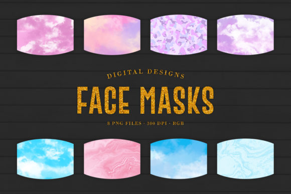 Print on Demand: 8 Pastel Face Masks Designs Graphic Crafts By Sabina Leja