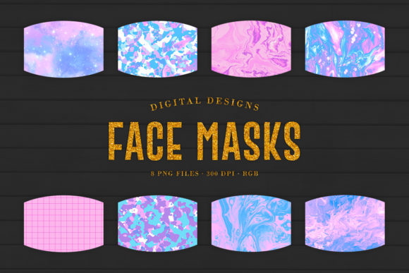 Print on Demand: 8 Pink & Blue Face Masks Designs Graphic Crafts By Sabina Leja