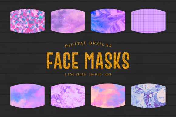 Print on Demand: 8 Purple Face Masks Designs Graphic Crafts By Sabina Leja