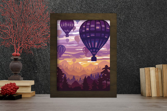 Print on Demand: Air Balloons Light Box Shadow Box Graphic 3D Shadow Box By LightBoxGoodMan
