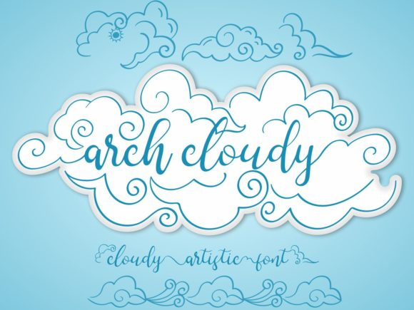 Print on Demand: Arch Cloudy Decorative Font By nryntdw