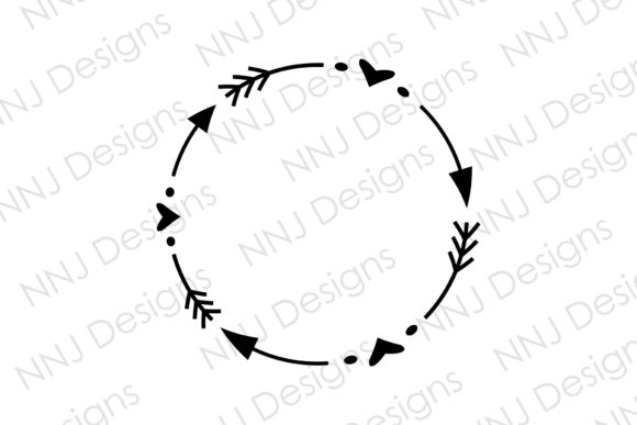 Print on Demand: Arrow Heart Wreath SVG Circle Monogram Graphic Illustrations By NNJ Designs