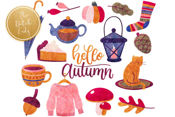 Print on Demand: Autumn Fall Elements Clipart Set Graphic Illustrations By daphnepopuliers