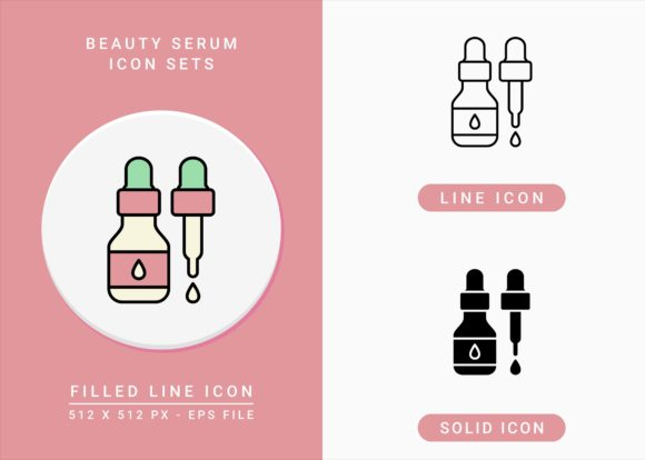 Print on Demand: Beauty Serum Icons Set Graphic Icons By zenorman03