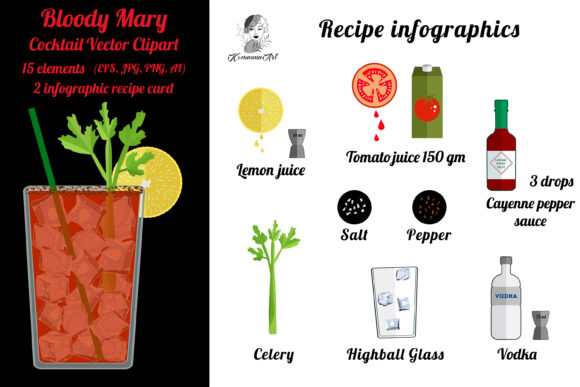 Bloody Mary Recipe - Infographics Graphic Illustrations By Komanna_Art