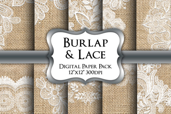 Print on Demand: Burlap and Lace Digital Paper Pack Graphic Backgrounds By Party Pixelz
