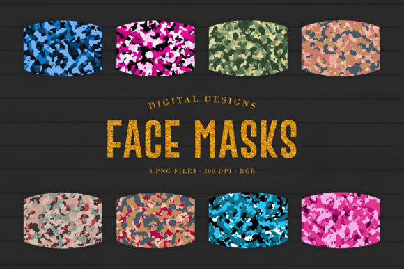Print on Demand: Camo Sublimation Face Masks Designs Gráfico Crafts Por Sabina Leja