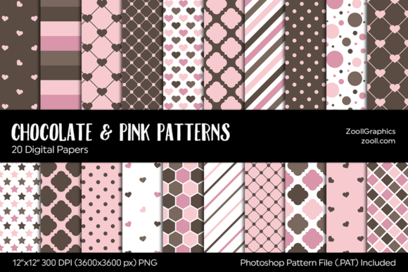 Chocolate & Pink Digital Papers Gráfico Moldes Por ZoollGraphics