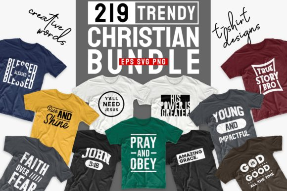 Print on Demand: Christian T-shirt Designs Bundle Graphic Print Templates By Universtock