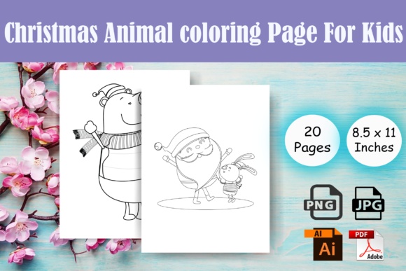 Print on Demand: Christmas Animal Coloring Page-KDP Graphic Coloring Pages & Books Kids By Sei Ripan