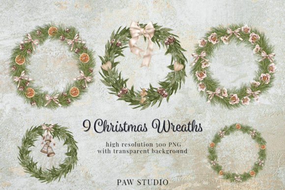 Print on Demand: Christmas Wreath Clipart Winter Greenery Graphic Illustrations By PawStudio