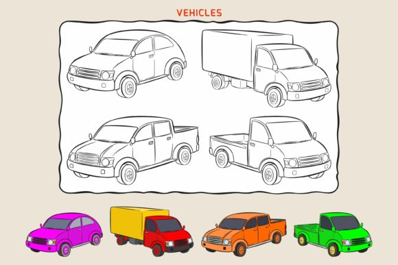 Coloring Page of Variation Vehicles Graphic Coloring Pages & Books Kids By Joharium