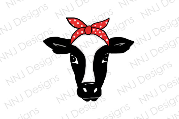 Print on Demand: Cow with Bandana PNG Clipart Graphic Illustrations By NNJ Designs