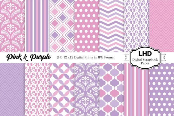 Digital Paper Pink and Purple Patterns Gráfico Moldes Por LeskaHamatyDesign