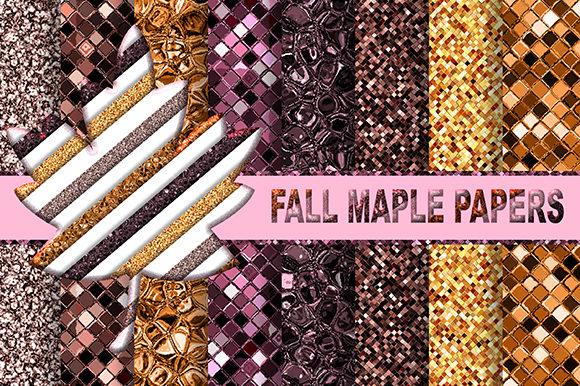 Fall Maple Glitter Texture Printable Graphic Textures By sugamiart