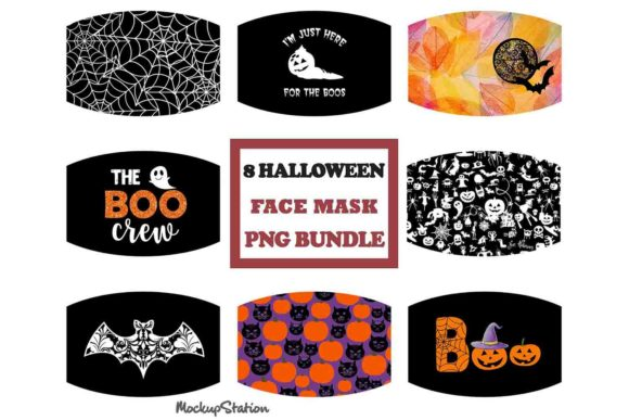 Print on Demand: Halloween Face Mask Sublimation Bundle Graphic Crafts By Mockup Station