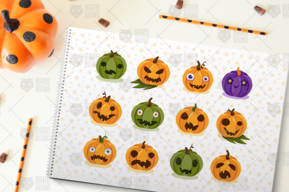 Print on Demand: Halloween Pumpkins Set Graphic Objects By barsrsind