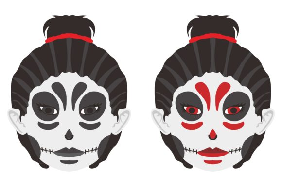 Print on Demand: Halloween Skull Makeup Girl Vector Graphic Crafts By Arief Sapta Adjie