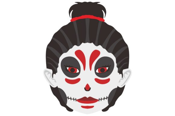 Print on Demand: Halloween Skull Makeup Girl Vector Gráfico Crafts Por Arief Sapta Adjie