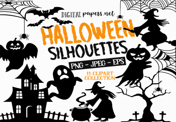 Print on Demand: Halloween Spooky Silhouettes Graphic Illustrations By DigitalPapers