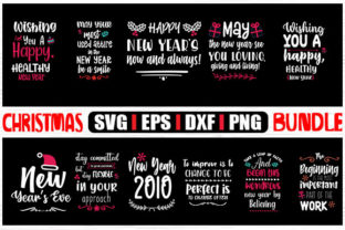 Print on Demand: Happy New Year Christmas Bundle Graphic Crafts By svg.in.design