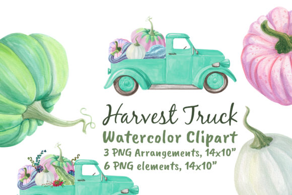 Harvest Farm Truck with Pumpkins Graphic Objects By artpanda2018