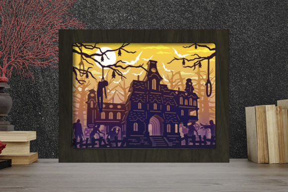 Haunted Castle Light Box Shadow Box Graphic 3D Shadow Box By LightBoxGoodMan
