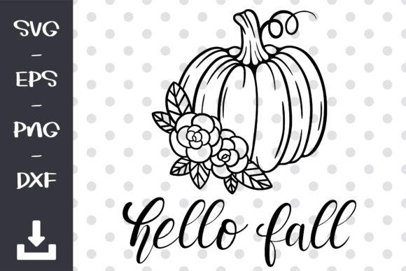 Hello Fall Pumpkin  SVG Graphic Objects By wanchana365