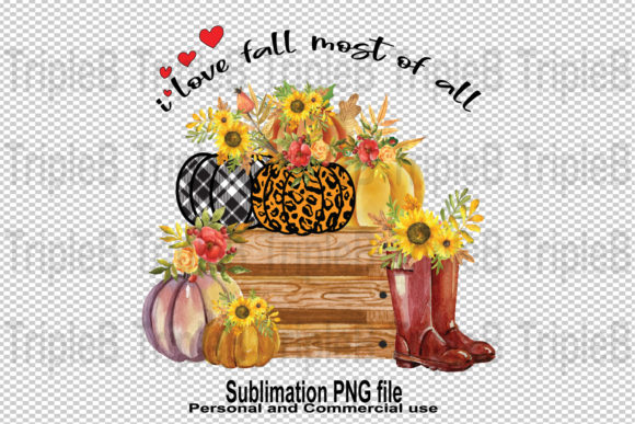 Print on Demand: I Love Fall Pumpkin Sublimation Designs Graphic Crafts By TripleBcraft