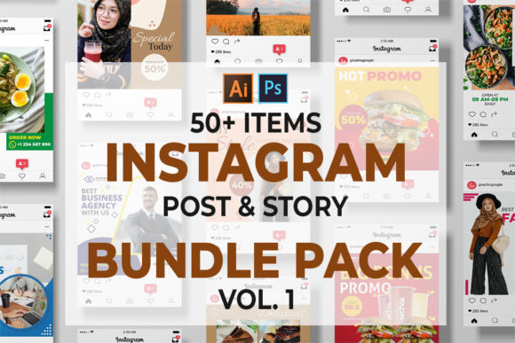 Print on Demand: Instagram Post and Stories Bundle Graphic Graphic Templates By JunioR Creative
