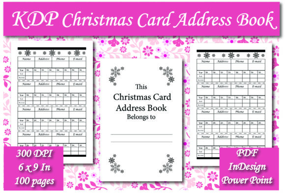 KDP Christmas Card Address Book Interior Graphic