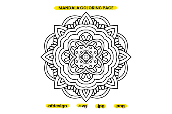 Print on Demand: Mandala Coloring Page Design 03 Graphic Coloring Pages & Books Adults By doridodesign