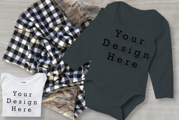 Mockup Grey & White Baby Bodysuits Graphic Product Mockups By MockupsByGaby