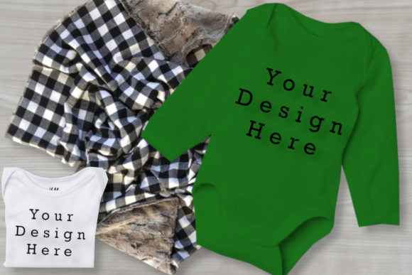 Mockups White & Green Baby Bodysuits Graphic Product Mockups By MockupsByGaby