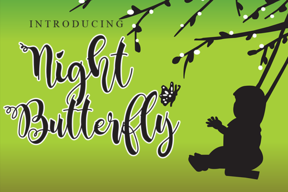 Print on Demand: Night Butterfly Script & Handwritten Font By gunawanletter