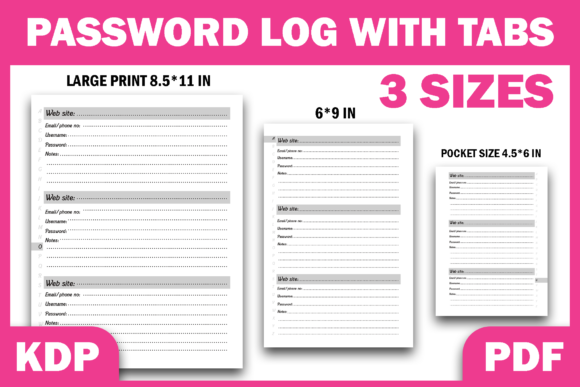 Print on Demand: Password Logbook with Tabs KDP Interior Graphic KDP Interiors By Fayne