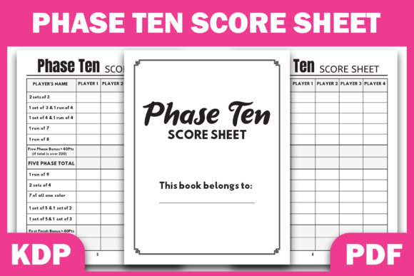 Print on Demand: Phase Ten Score Sheet | KDP Interior Graphic KDP Interiors By Fayne