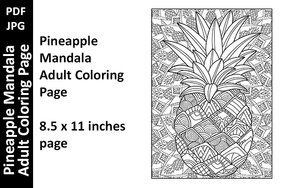 Pineapple Mandala Adult Coloring Page Graphic