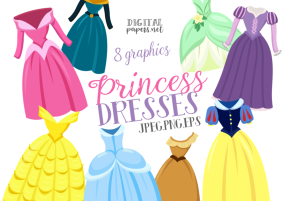Print on Demand: Princess Dresses Graphic Illustrations By DigitalPapers