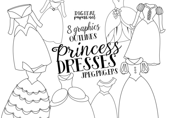 Print on Demand: Princess Dresses Outlines Clipart Graphic Illustrations By DigitalPapers