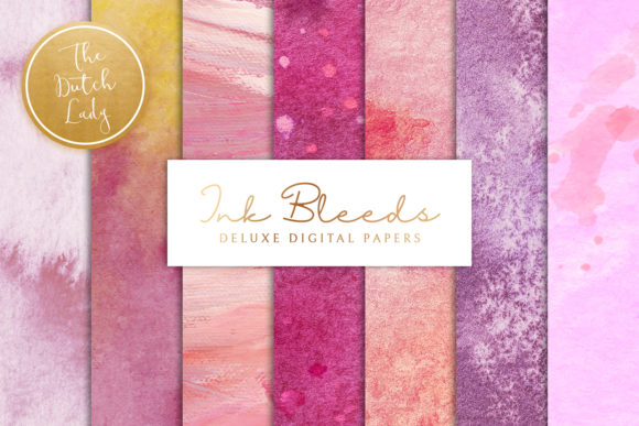 Print on Demand: Purple Ink Bleed Texture Papers Graphic Backgrounds By daphnepopuliers
