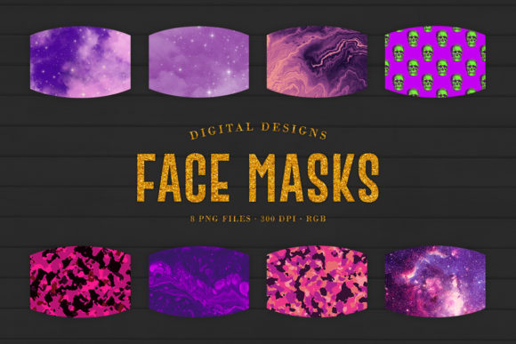 Print on Demand: Purple Sublimation Face Masks Designs Graphic Crafts By Sabina Leja