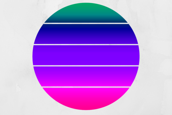 Print on Demand: Retro Striped Gradient Circle Background Graphic Backgrounds By atlasart